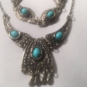 Vintage Pewter Silver Tone Faux Turquoise Necklace